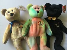 Ty Beanie Babies Lot Of 3 The End 1999 , Peace 1996 And Clubby III 2000 B