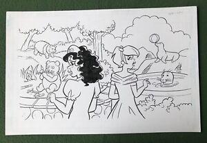 """Original Coloring Book Artwork """"PRINCESS"""" Dan Parent signed by inker ZOO Animals"""
