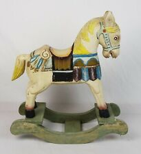 Vintage Antique French Hand Carved Solid Wood & Hand-Painted Rocking Horse