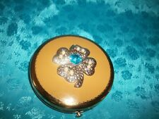 New listing Vintage Dorset Fifth Avenue Compact Powder Gold With Jeweled 4 Leaf Clover