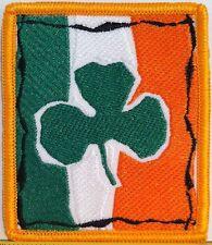IRISH BIKER IRON ON PATCH GREEN SHAMROCK LUCKY IRISH  CLOVER