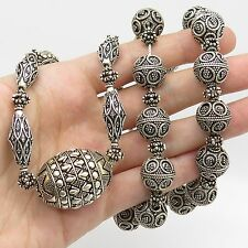 """Vtg 925 Sterling Silver Large Unique Bead Chain Necklace 26"""""""