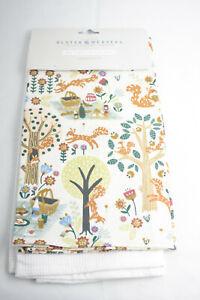 Ulster Weavers ~ WOODLAND PICNIC ~ kitchen tea towels pair BNWT fox squirrel