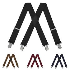 Mens Heavy Duty Suspenders Adjustable Clip On Work Braces 2