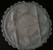 """LINEN LACE CUSHION COVER HANDMADE IN SIZE16"""" ECRU  COLORED"""