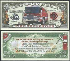 FireFighter Truck Fire Prevention Million Dollar Bill Funny Money Novelty Note