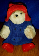 """EDEN TOYS 1994 Jointed Paddington Bear Miniature 4.5""""  Red Boots Hat Blue Hoodie"""