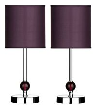 Set Of 2 Table Lamp Purple Shade With Acrylic Ball Chrome Finish Base Home Decor