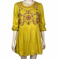 SPORTSGIRL Women's Size 6 Yellow Long Sleeve Embroidered Floral Short Boho Dress