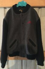 Jim Beam Grey Black Wool Varsity Style Mens Jacket Size Large