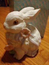 Vintage Enesco Bunny Rabbit Music Box Figurine 1988 What A Beautiful Morning