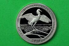 2018-S GEM Proof Deep Cameo (Cumberland Island Seashore)US Quarter(c/n clad)