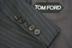 Tom Ford Basic Base A Charcoal Gray Striped Wool 2 PC Suit Jacket Pants Sz 44R