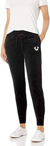 True Religion Women's Crystal Embellished Velour Jogger Sweatpants - Black