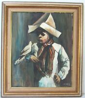 WINTAGE ART DECO OIL PAINTING OF A BOY WITH BIRDS, SIGNED