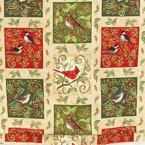 Christmas Owls Red Green White Cotton Quilting Fabric 1.9 YARDS