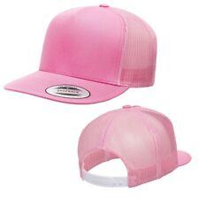 Flat bill Trucker Cap Mesh back Hat Snap back  SNAPBACK Yupoong Pink