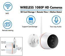 WIRELESS CCTV 1080P HD Cameras-TWO Way Audio-REMOTE Monitoring - SD Card Storage