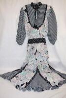 Vintage DIANE FREIS Multi-Color Floral Boho Ruffle Midi Dress Women S  (151)