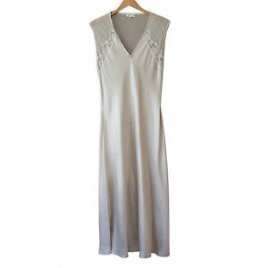 Schweitzer Linen gray silk slip nightgown Sheer Back sleeveless Lingerie Large