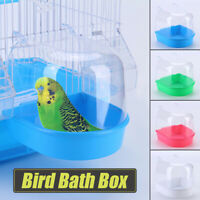 Bird Bath Tub For Pet Cage Hanging Bowl Parrots Parakeet Food Water Feeder Box