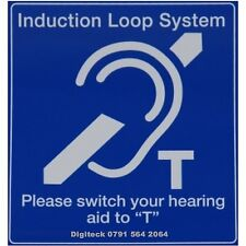 INDUCTION HEARING LOOP SYSTEM GENERAL SIGN , SCHOOL, BUSINESS, RECEPTION