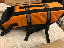 Dog Adjustable Life Jacket Safety Vest Reflective Swim Preserver Orange Size L