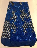 """Royal Gold Stretch Sequins Embroidery Lace Fabric 50"""" Width Sold By The Yard"""