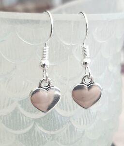 Silver Heart Earrings Tibetan Hearts Dangly Hook Love Romantic Gift