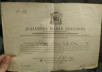 1894 CONCESSIONE X CELEBRARE MESSE VESCOVO DI MONTENARS (UDINE) FRANCESCO ISOLA