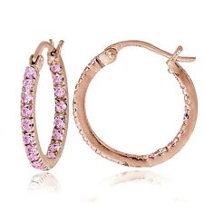 Rose Gold Flash over Sterling Silver Pink CZ Inside Out 17mm Round Hoop Earrings