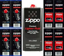 12 Ounce Fuel Fluid & 4 Packs Flint (24 Flint) & 4 Wicks for Zippo Lighters