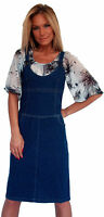 New Boutique Womens Denim Jeans Sleeveless Knee Length Dress Size 8 10 12 14 16