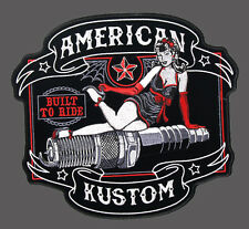 PIN UP GIRL SPARK PLUG EMBROIDERED 5 INCH BIKER PATCH BY MILTACUSA