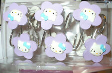 SANRIO HELLO KITTY FLOWER SHAPED SHOWER CURTAIN HOOKS~NEW~PURPLE