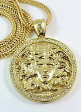 HOT NEW YELLOW GOLD FINISH MEDUSA HEAD  MEDALLION PENDANT CHARM CHAIN SET