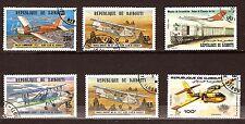 8T2 DIBOUTI  6 timbres oblitérés Avions de tourisme et trains