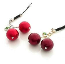 Cute Kitsch Red Cherry Cherries Mobile Phone Charm Keyring Kawaii UK SELLER