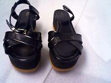 PRE-Owned FENDI HYDRA black Wedge Sandals Size 8M EU38.5 Defect