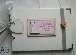 PERSONALISED NEW BABY GIFT GIRL/BOY..A5 SIZE PHOTO ALBUM/SCRAPBOOK/MEMORY BOOK.