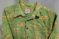Reyn Spooner Trader Joe's Employee Green 2007 Hawaiian Mens Shirt XL Longboards