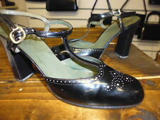Vintage años 60 Negro Cuero años 50 años 60 zapatos talla 5 por Christian Dior Raro