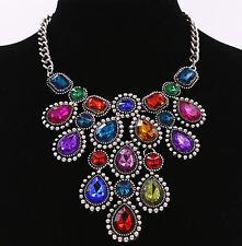 Crystal Diamond Rhinestone Gem Choker Necklace Pendant Women Jewelry Accessory