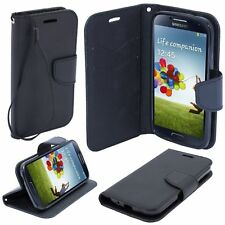 ^ Book Case Buch Form Cover Hülle Handy Tasche Fancy Alcatel U5 3G Dual Schwarz