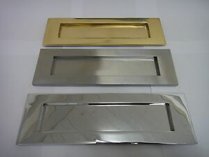 """VICTORIAN SPRUNG LETTER PLATE / LETTER BOX 10""""x3"""" IN BRASS, CHROME OR SATIN (TP)"""