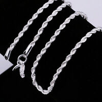 Wholesale 1/5pcs 2MM 925 Silver Twisted Rope Chain Necklace Women Jewelry 16-30""