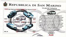 SAN MARINO 1999 AUTOMOBILI AUDI CARS L. 6000 FOGLIETTO USATO ANNULO SPECIALE FDC