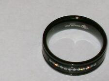 Black Enamel Stainless Steel Natural Diamond Band Ring