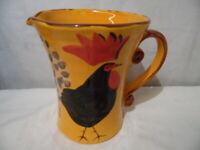 Vintage Marco e Cristina Hand Painted Pottery Porcelain Pitcher Orange Italy