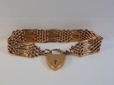 Fine Vintage 9ct Rose Gold Gate Bracelet with heart padlock marked 9ct 15.4grams